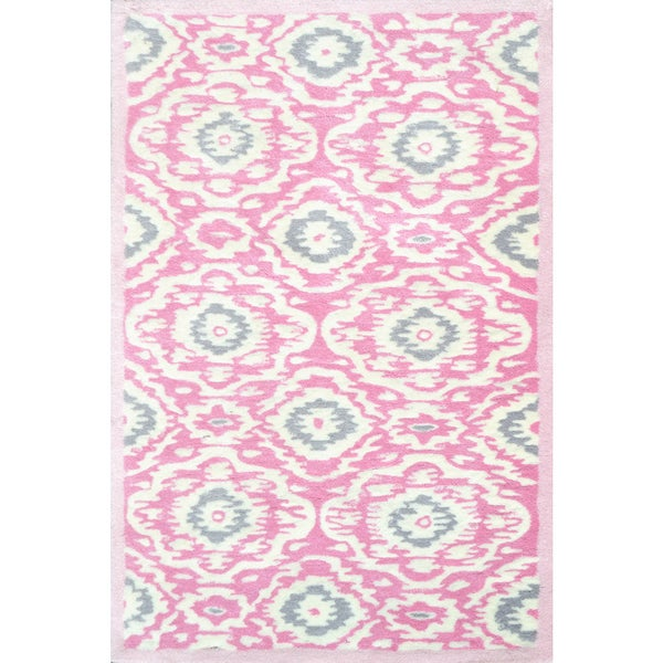Shop Hand-tufted Ikat-kidi Pink/ White/ Grey Rug