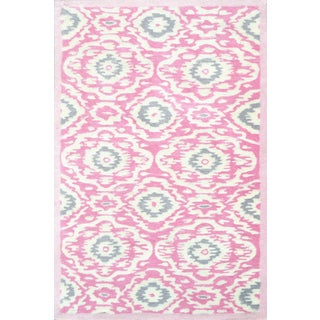 Hand-tufted Ikat-kidi Pink/ White/ Grey Rug (2'8 x 4'8)