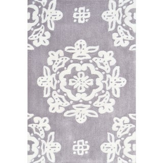 Hand-tufted Dq-1 Grey/ White Rug (2'8 x 4'8)