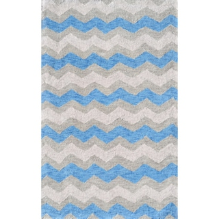 Hand-hooked Ziggy-blue/ Grey Rug (2'8 x 4'8)
