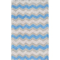 Hand-hooked Ziggy-blue/ Grey Rug - 2'8 x 4'4