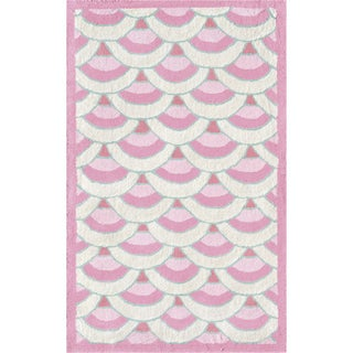 Hand-hooked Chi-lin Pink/ Pink/ White/ Teal Rug (2'8 x 4'8)