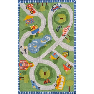 Hand-hooked Road Trip Green/ Red/ Blue/ Yellow Rug (2'8 x 4'8)