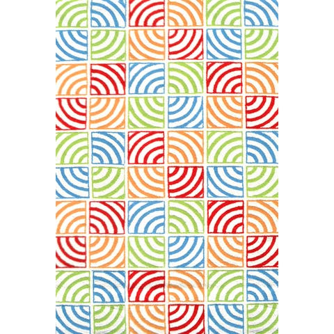 Hand-hooked Fish Party Polyester Rug - 2'8 x 4'4