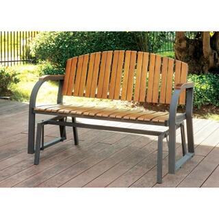 Furniture of America Karla Slatted Outdoor Rocking Loveseat