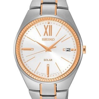 Seiko Women's SNE878 Stainless Steel Two Tone Solar Powered Watch with Date Window|https://ak1.ostkcdn.com/images/products/11530761/P18478325.jpg?impolicy=medium