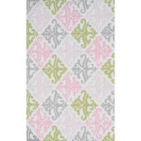 Hand-hooked Pink Damask Rug (2'8 x 4'8) - 2'8 x 4'4