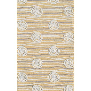 Hand-hooked Rosalita Yellow/ Grey/ White Rug (2'8 x 4'8)