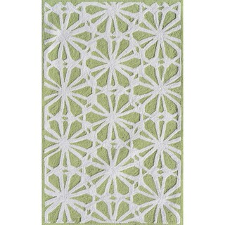 Hand-hooked Connie Green/ White Rug (2'8 x 4'8)