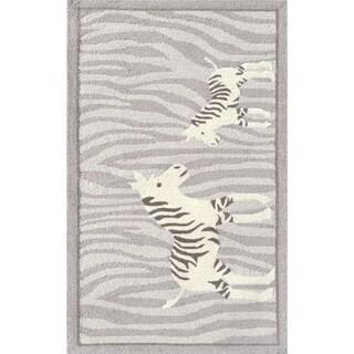 Hand-hooked Twirl Grey Acrylic Rug (2'8 x 4'8)