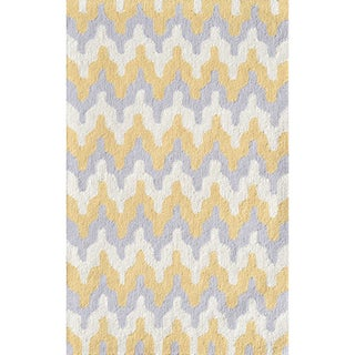 Hand-hooked Zigzag Grey Acrylic Rug (2'8 x 4'8)