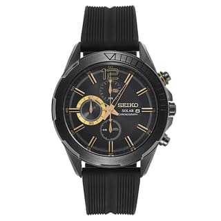 Seiko Men's SSC385 Stainless Steel Solar Chronograph Watch with Black and Goldtone Dial and 6 Month Power Reserve|https://ak1.ostkcdn.com/images/products/11530831/P18478448.jpg?impolicy=medium