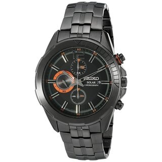 Seiko Men's SSC383 Stainless Steel Solar Chronograph Watch with Black Dial and 6 Month Power Reserve