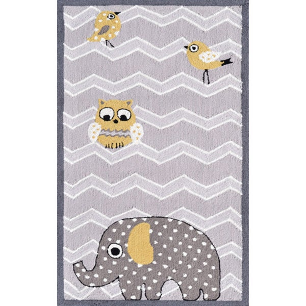 Hand-hooked Eleph and Bird Purple Polyester Rug (2'8 x 4'8)