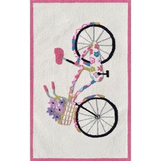 Hand-hooked Flower Bike White/ Black/ Fuchsia Rug (2'8 x 4'8)