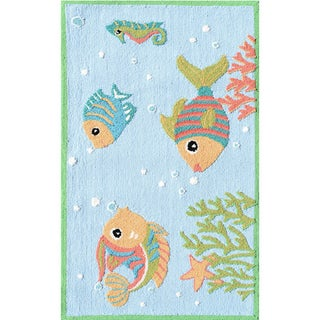 Hand-hooked Fish Party Blue/ Red/ White Rug (2'8 x 4'8)