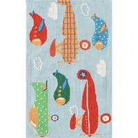 Hand-hooked Air Show Off Blue/ Red/ Green Rug - 2'8 x 4'4