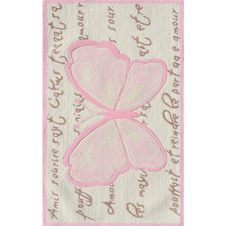 Hand-hooked French Butterfly Cream/ Pink/ Brown Rug (2'8 x 4'8)