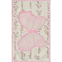 Hand-hooked French Butterfly Cream/ Pink/ Brown Rug - Cream - 2'8 x 4'4