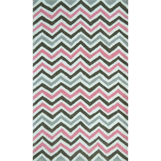 Hand-hooked Pink Chevy White/ Pink/ Grey Rug (2'8 x 4'8)