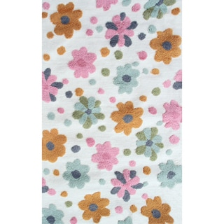 Hand-hooked Spring Flower Bloom White/ Multicolored Rug (2'8 x 4'8)
