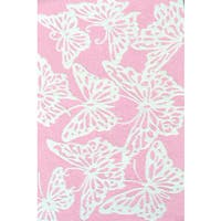 Hand-hooked Multicolored Butterfly Pink/ White Rug - 2'8 x 4'8