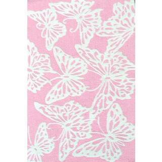Hand-hooked Multicolored Butterfly Pink/ White Rug (2'8 x 4'8) - 2'8 x 4'8
