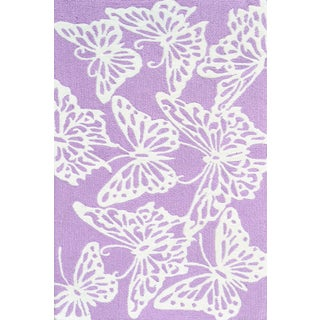 Hand-hooked Multicolored Butterfly Lavender/ White Rug (2'8 x 4'8)