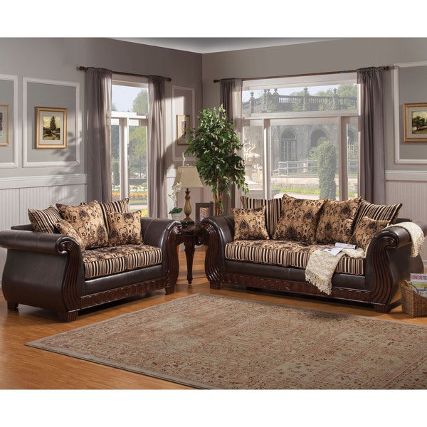 Furniture Of America Kellos Formal 2 Piece Traditional Upholstered Sofa Set