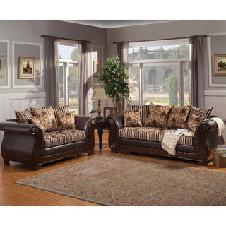 Furniture of America Kellos Formal 2-piece Traditional Upholstered Sofa Set