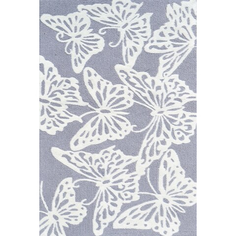 Hand-hooked Multicolored Butterfly Grey/ White Rug - 2'8 x 4'8