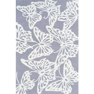 Hand-hooked Multicolored Butterfly Grey/ White Rug (2'8 x 4'8)