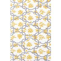 Hand-hooked Geo White/ Grey/ Gold Rug (2'8 x 4'8) - 2'8 x 4'4