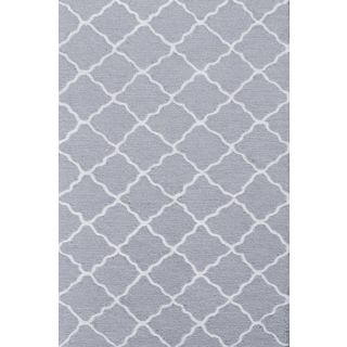 Hand-hooked Lattice Grey/ Grey/ White Rug (2'8 x 4'8)