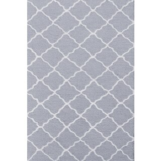 Hand-hooked Lattice Grey/ Grey/ White Rug (2'8 x 4'8)