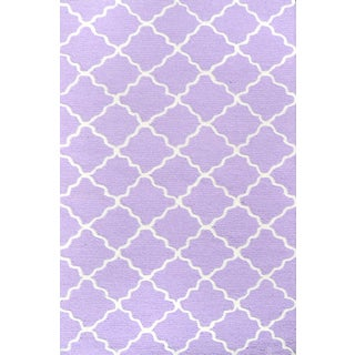Hand-hooked Lattice Purple/ White Rug (2'8 x 4'8)