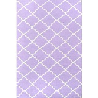 Hand-hooked Lattice Purple/ White Rug - 2'8 x 4'4