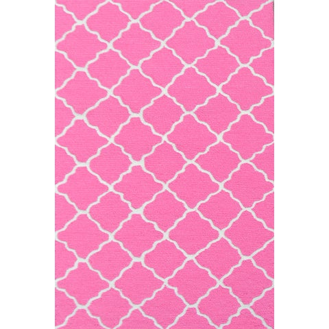 Hand-hooked Lattice Bubble Gum/ Hot Pink/ White Rug - 2'8 x 4'4