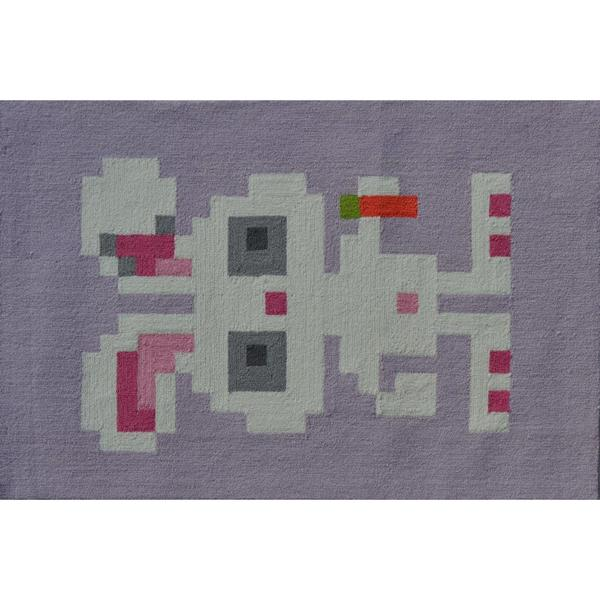 Hand-hooked Pixel Bunny Grey/ Pink/ White Area Rug (2'8 x 4'8)