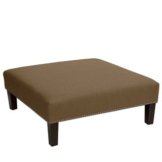 Skyline Furniture Linen Taupe Nail Button Cocktail Ottoman