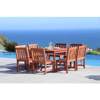 Malibu Eco-friendly 9-piece Outdoor Hardwood Dining Set with Square Table and Armless Chairs
