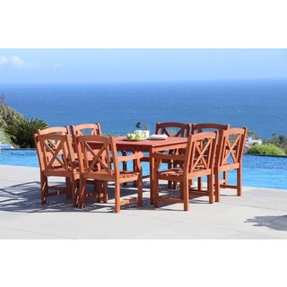 Malibu Eco-friendly 9-piece Outdoor Hardwood Dining Set with Square Table and Arm Chairs