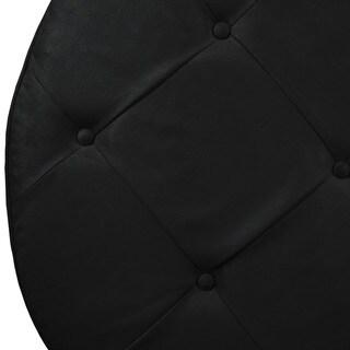 Skyline Furniture Premier Black Tufted Round Cocktail Ottoman
