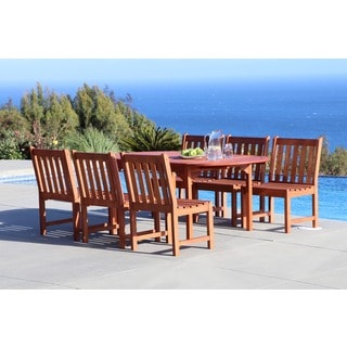Malibu Eco-friendly 7-piece Outdoor Hardwood Dining Set with Oval Extention Table and Armless Chairs