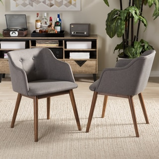 Baxton Studio Hypatia Mid-century Modern Grey Tufted Chair (Set of 2)
