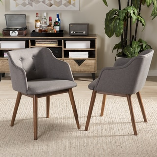 Baxton Studio Hypatia Mid-century Modern Grey Tufted Chair (Set of 2)