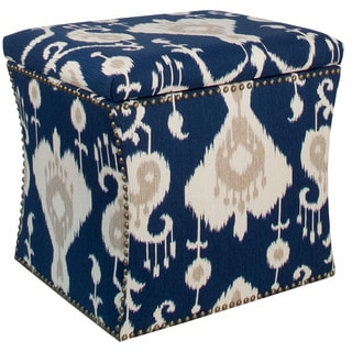 Skyline Furniture Java Navy Nail Button Storage Ottoman