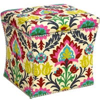 Skyline Furniture Santa Maria Desert Flower Nail Button Storage Ottoman