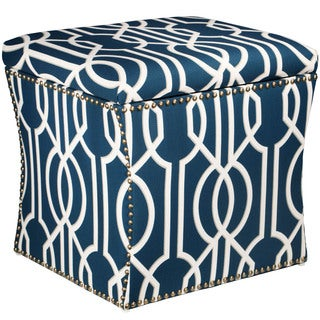 Skyline Furniture Deco Navy Nail Button Storage Ottoman