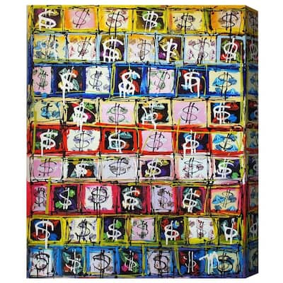 Oliver Gal 'Money Game' Symbols and Objects Wall Art Canvas Print - Yellow, Blue